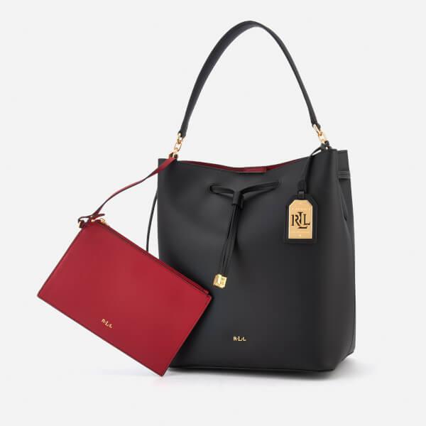 730fe8c6af8c Lauren Ralph Lauren Women s Dryden Debby Drawstring Bucket Bag - Black Crimson   Image 6