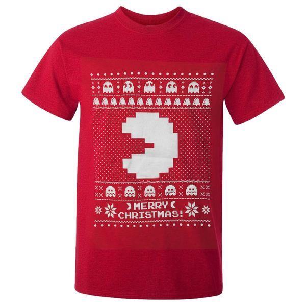 T-Shirt Homme Namco Merry PacMan de Noël - Rouge