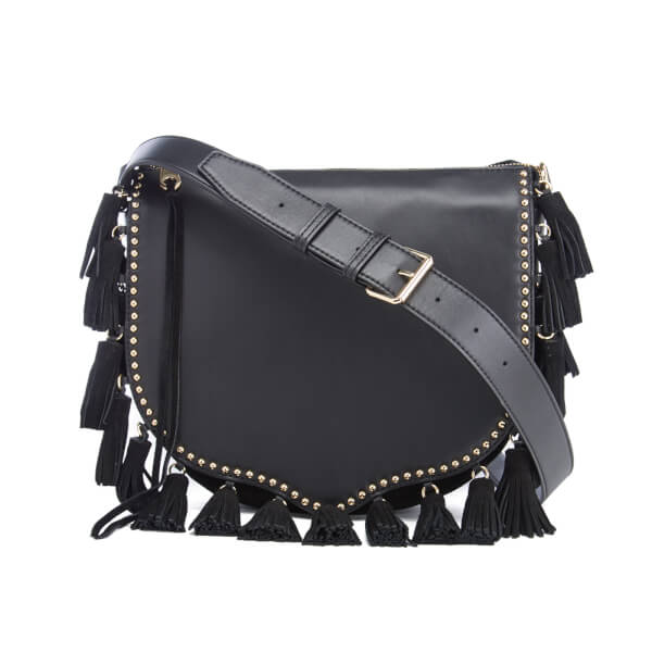 Rebecca Minkoff Women's Large Multi Tassel Saddle Bag - Black