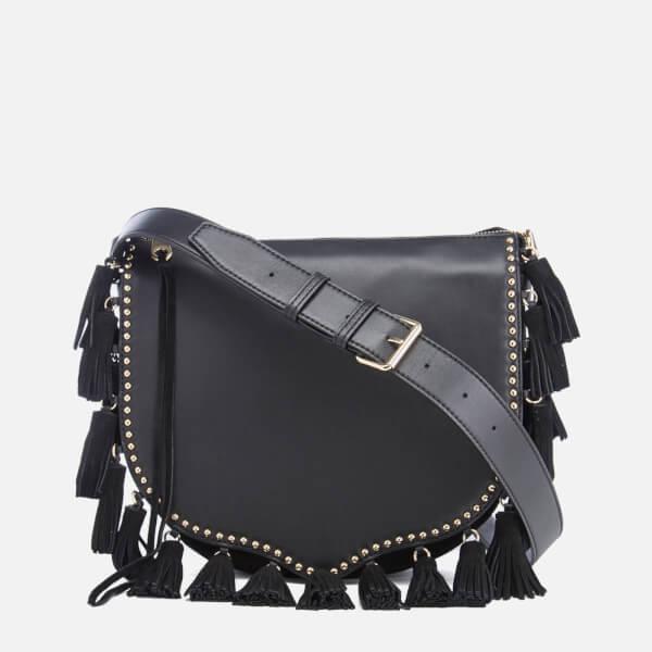 Rebecca Minkoff Women's Large Multi Tassel Saddle Bag - Black