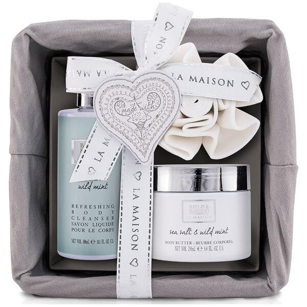 baylis harding la maison sea salt wild mint 3 piece basket gift set homeware. Black Bedroom Furniture Sets. Home Design Ideas