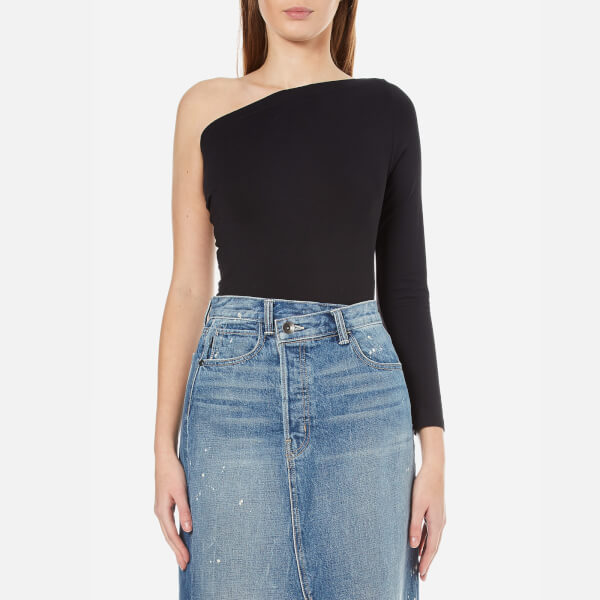 Helmut Lang Women's One Shoulder Long Sleeve Top - Black