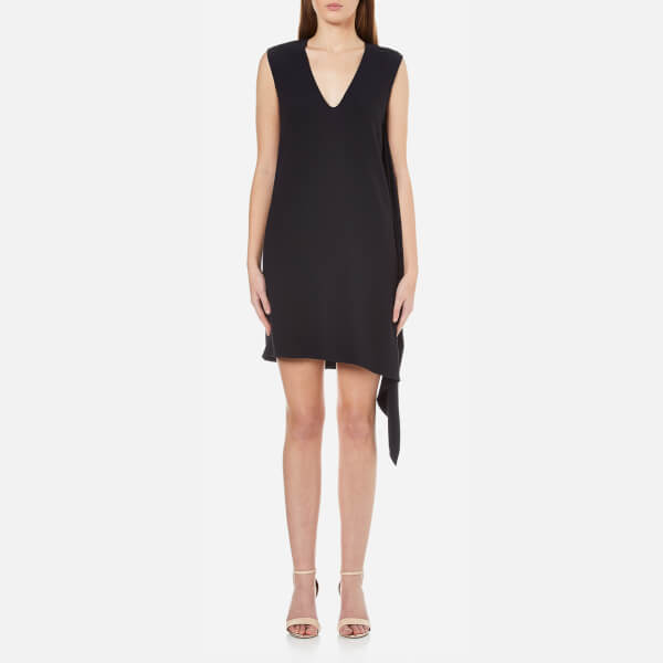 Helmut Lang Women's Side Drape V Neck Dress - Navy