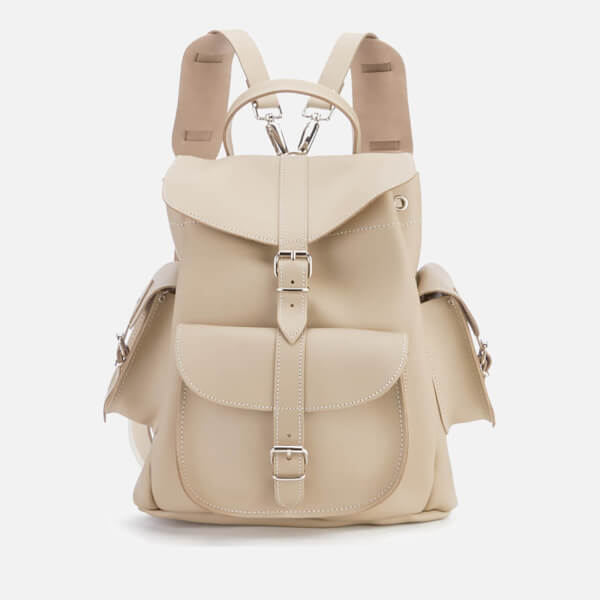 Grafea Women's Medium Leather Rucksack - Sand