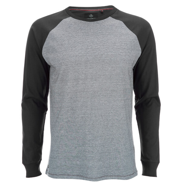 Threadbare Men's Coleman Raglan Long Sleeve Top - Black