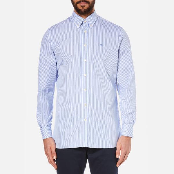 Hackett London Men's Classic Fine Stripe Long Sleeve Shirt - White/Blue