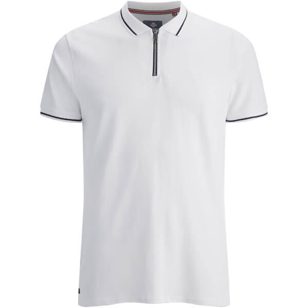Threadbare Men's Redcar Short Sleeve Zip Polo Shirt - White