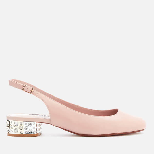 Dune Women's Cameoo Leather Sling Back Blocked Heeled Court Shoes - Blush