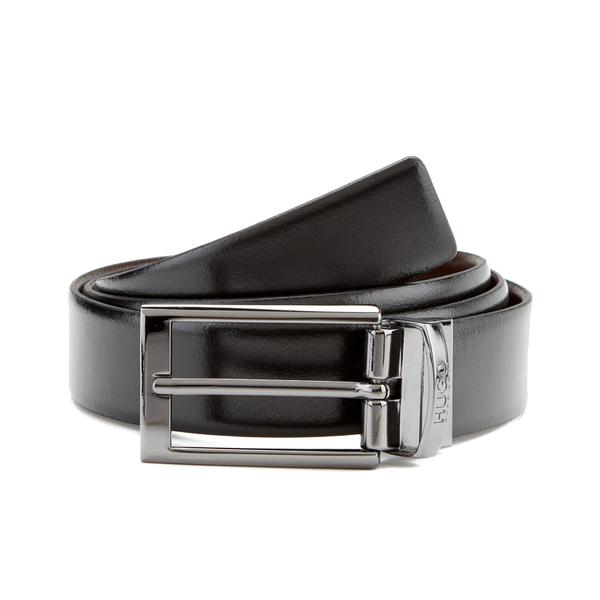 HUGO Men's C-Elvio Gunmetal Reversible Belt - Black/Brown