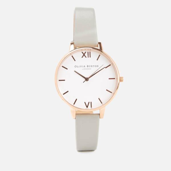 Olivia Burton Women's Big White Dial Watch - Grey/Rose Gold