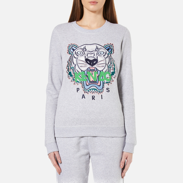 KENZO Women's Embroidered Tiger On Light Cotton Molleton Sweatshirt - Light Grey