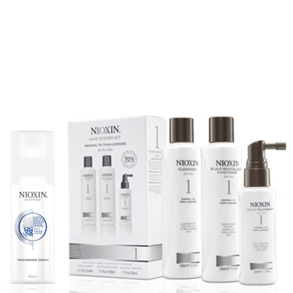 NIOXIN Hair System Kit 1 and Thickening Spray Bundle