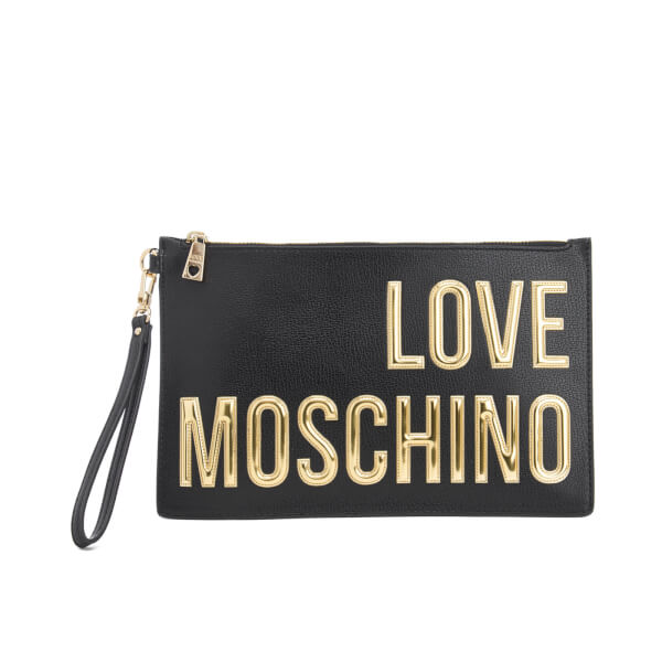 logo clutch - White Moschino Looking For For Sale Get To Buy Free Shipping How Much Comfortable Sale Online Cheap Amazing Price HKqegT