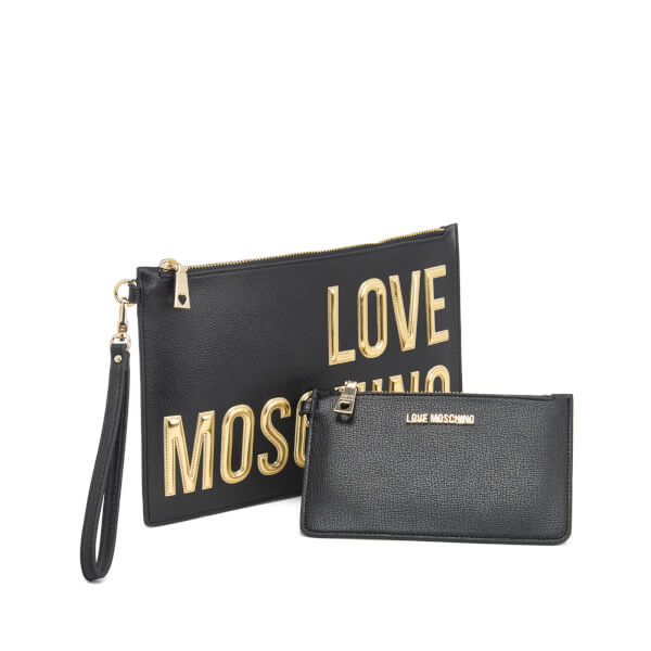 7cf73aec8b65 Love Moschino Women s Logo Clutch Bag - Black  Image 3