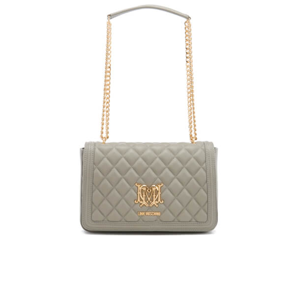 love moschino women 39 s quilted chain tote bag grey. Black Bedroom Furniture Sets. Home Design Ideas