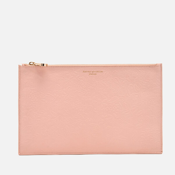 Aspinal of London Women's Essential Flat Embossed Flower Large Pouch - Peach