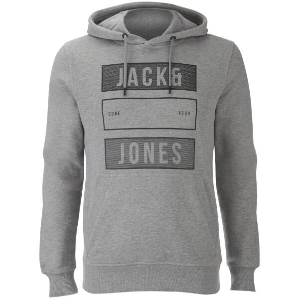 Jack & Jones Men's Core Trevor Graphic Hoody - Light Grey Marl