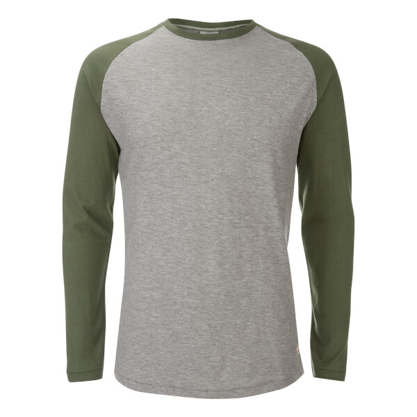 Jack & Jones Men's Originals Stan Raglan Long Sleeve Top - Light Grey/Green