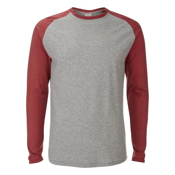 T-Shirt Originals Stan Raglan Manches Longues Jack & Jones -Gris/Rouge