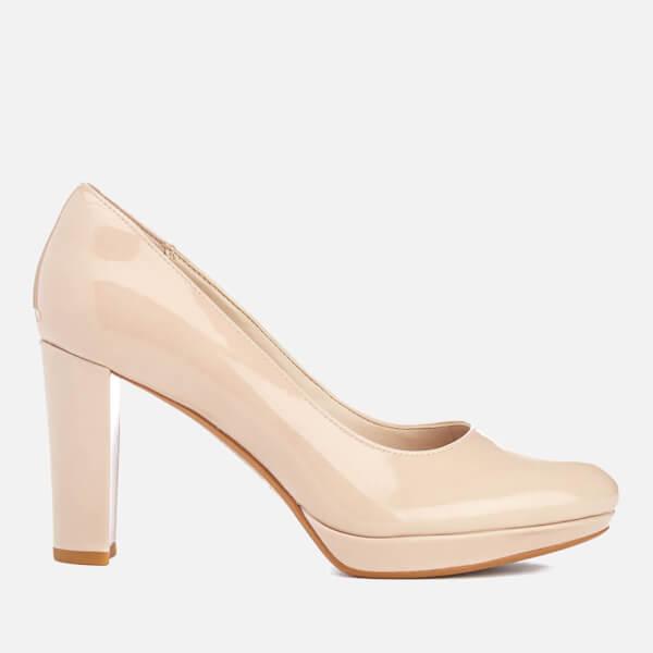 Clarks Women's Kendra Sienna Patent Platform Court Shoes - Nude