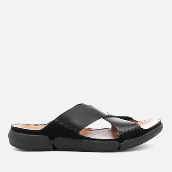 Clarks Men's Trisand Cross Leather Sandals - Black