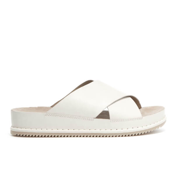 afdee24b2ce12b Clarks Women s Alderlake Lily Leather Double Strap Slide Sandals - White   Image 1