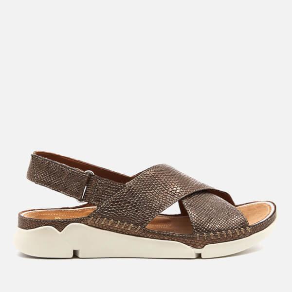 364d66f71b42 Clarks Women s Tri Alexia Leather Cross Front Sandals - Metallic  Image 1