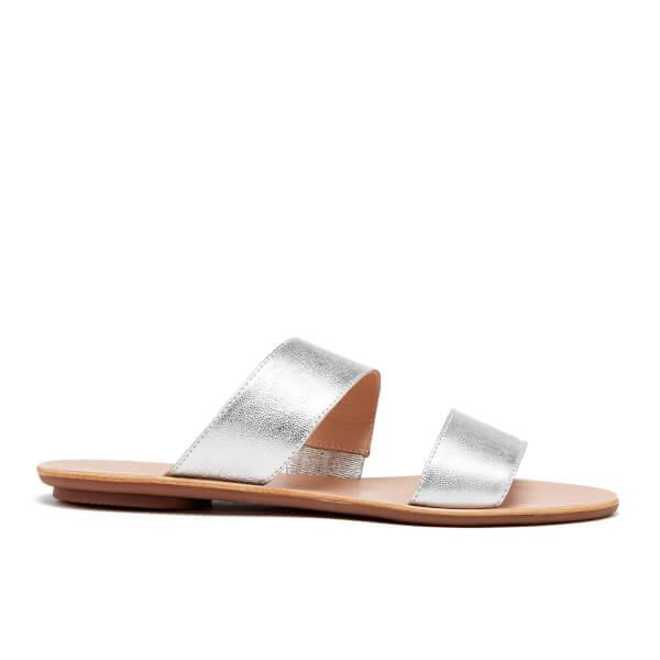 Loeffler Randall Women's Clem Double Strap Flat Sandals - Silver