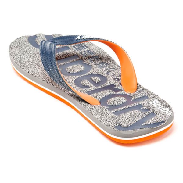 a3b220fe0b8823 Superdry Men s Scuba Marl Flip Flops - Grey Fleck Navy Mens Footwear ...