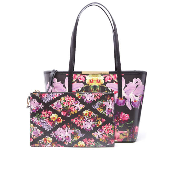 a689a80f98 Ted Baker Women's Doloris Lost Gardens Small Leather Shopper Bag - Black:  Image 1