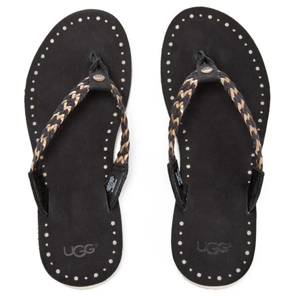 ugg women 39 s navie ii leather braided flip flops black free uk delivery. Black Bedroom Furniture Sets. Home Design Ideas