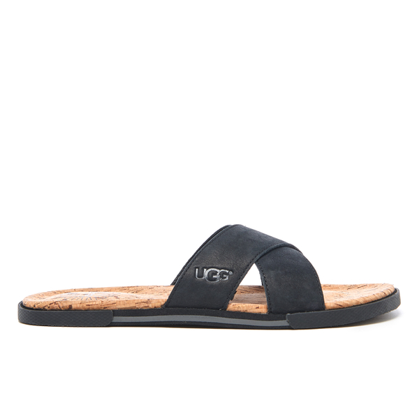 UGG Men's Ithan Cork Double Strap Leather Slide Sandals - Black