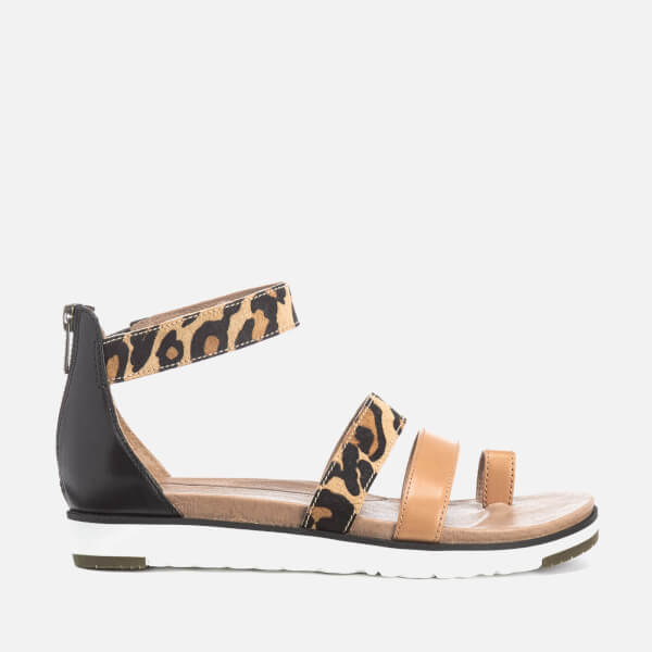 UGG Women's Mina Leopard Leather Gladiator Sandals - Chestnut Leopard