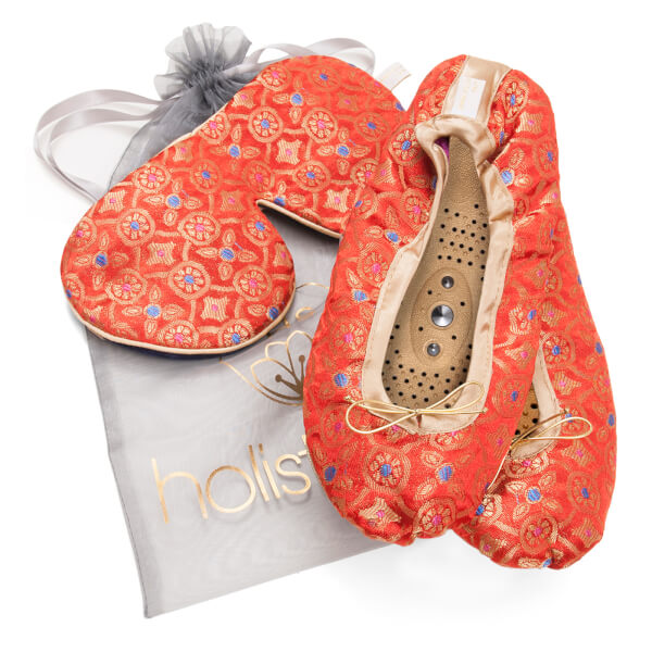 Holistic Silk Eye Mask Slipper Gift Set - Tibetan Orange (Various Sizes)