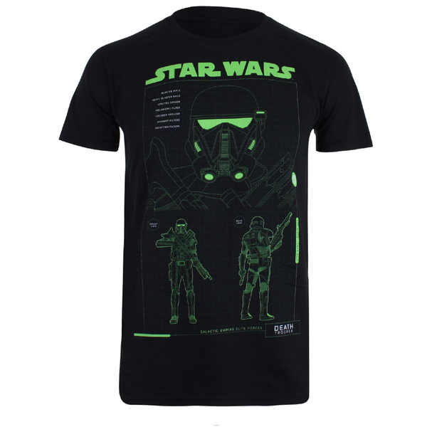 Star Wars Rogue One Men's Death Trooper Schematic T-Shirt - Black