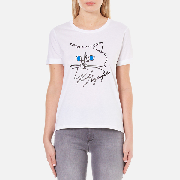 karl lagerfeld women 39 s choupette sketch t shirt white. Black Bedroom Furniture Sets. Home Design Ideas