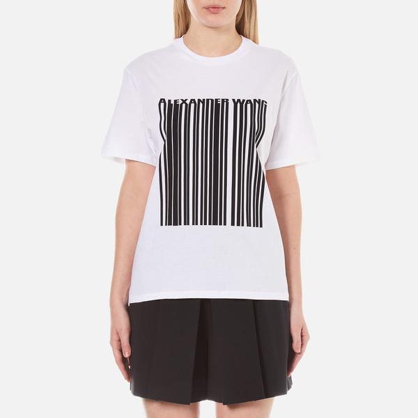 Alexander Wang Women's Bonded Barcode Boxy Crew Neck T-Shirt - Bleach