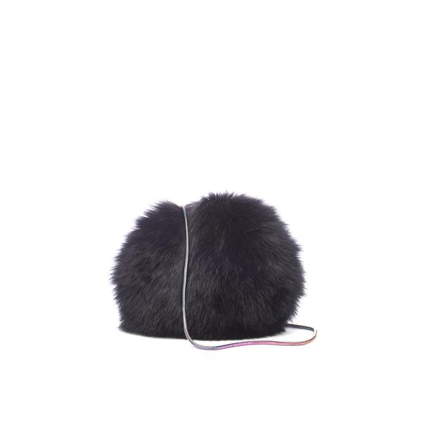 Diane von Furstenberg Women's Love Power Tipped Fox Puff Bag - Black