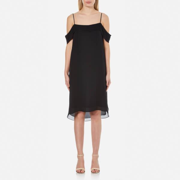 T by Alexander Wang Women's Silk Georgette Pleated Off the Shoulder Dress - Black