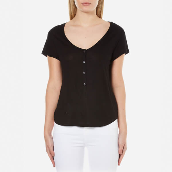 T by Alexander Wang Women's Rayon Low Neck Henley T-Shirt - Black