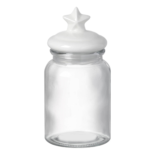 Parlane Star Glass Sweetie Jar with Ceramic Lid - White (22 x 10.5cm)