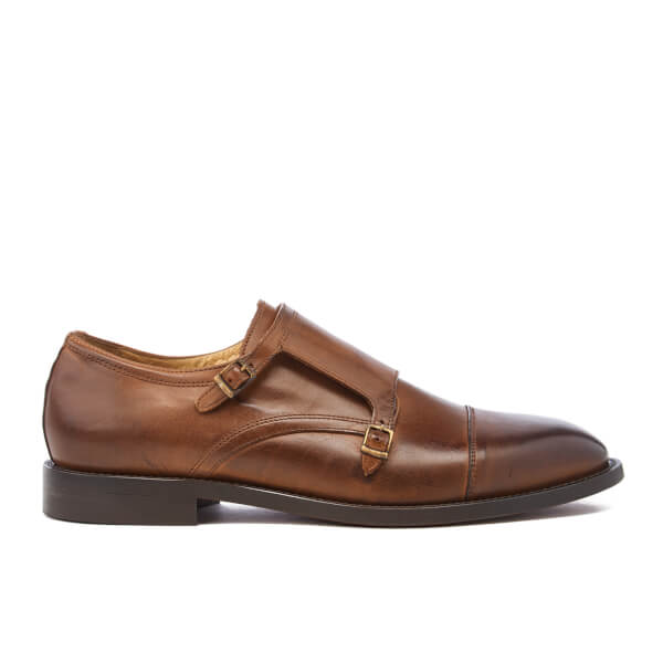 H Shoes by Hudson Men's Baldwin Calf Leather Monk Shoes - Cognac
