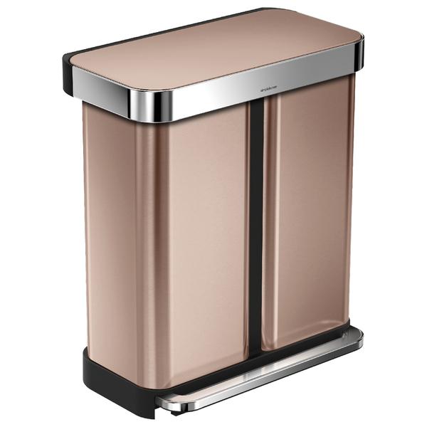 simplehuman dual compartment pedal bin with liner pocket rose gold 58l homeware. Black Bedroom Furniture Sets. Home Design Ideas
