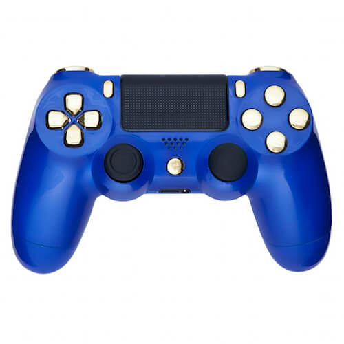 playstation 4 custom controller royal blue and chrome gold games accessories zavvi. Black Bedroom Furniture Sets. Home Design Ideas