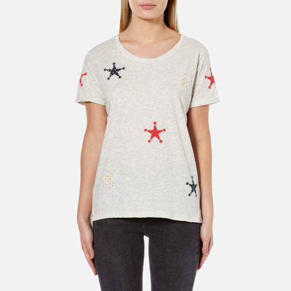 Maison Scotch Women's Boxy Fit T-Shirt with Patched On Stars - White
