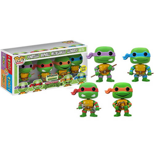 Funko 4 Glow-In-The Dark Teenage Mutant Ninja Turtles Pop! Vinyl