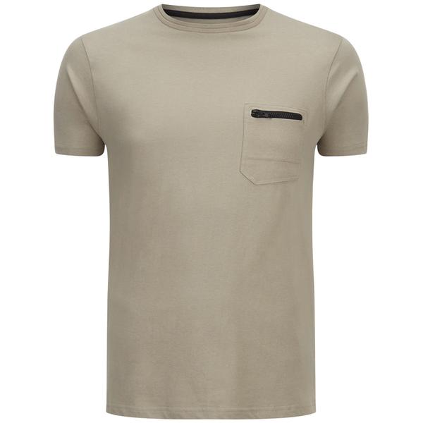 Brave Soul Men's Faustian Zip Pocket T-Shirt - Mushroom