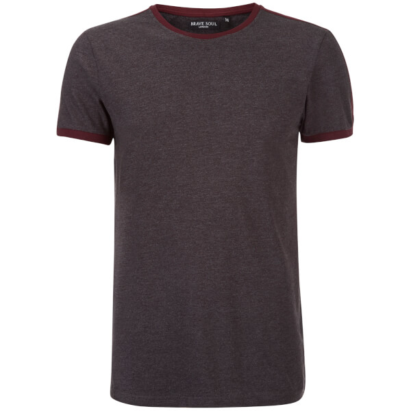 Brave Soul Men's Pete Shoulder Panel T-Shirt - Charcoal Marl/Wine