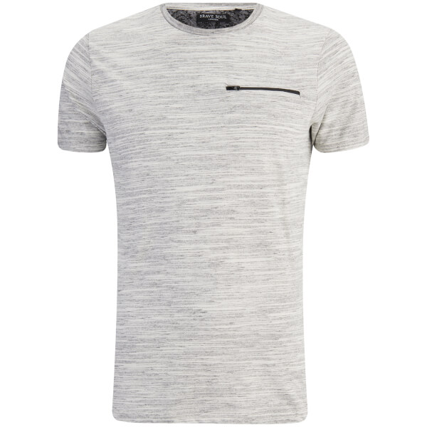 Brave Soul Men's Gustav Zip Pocket T-Shirt - Ecru/Light Grey