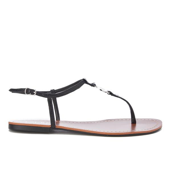 f9640b1695f0 Lauren Ralph Lauren Women s Aimon T-Bar Croc Flat Sandals - Black  Image 1